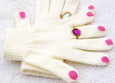 "Fancy  winter Gloves. White stretchy winter gloves; Tulip paint – 1 gold glitter, 1 pink or red; Faceted craft jewels. ""These were brought home from school one day and I loved them. I have never seen anything like them before and decided that I would make these to give to all of my female friends for this winter."" ... crafttutorials.net/"