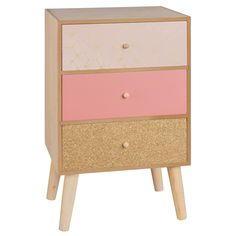 Petit meuble de rangement 4 tiroirs rose et doré
