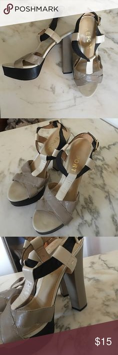 Report High heel sandals. Mixed leather Mixed leather, tonal, Report high heeled sandals. Size 11. Barely worn. Report Shoes Platforms