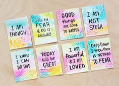 DIY: Watercolor Affirmation Cards Make your own affirmation cards and place them around your home as a reminder to embrace 'happy thoughts' instead of dwell on the negative. Rachel, from Adventures in Making, shared a tutorial for … Affirmation Cards, Goal Board, Sticky Notes, Daily Motivation, Positivity, Diy Crafts, Crafty, Happy Thoughts, Motivation Wall