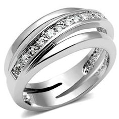 Silver Tone Bypass Channel Setting Cubic Zirconia Band Ring | Hope Chest Jewelry, $12.49