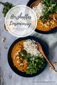 Lentil curry with rice Cook now! Raw Food Recipes, Indian Food Recipes, Healthy Recipes, Ethnic Recipes, Lentil Curry, Eat Smart, Vegan Dinners, Lentils, Soul Food