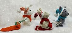Crochet Rabbit The Winter Friends set includes the mouse, bunny, winter hats and scarves, snow mouse, 2 regular sleds and one carrot sled. Tutorial Amigurumi, Crochet Patterns Amigurumi, Amigurumi Doll, Crochet Dolls, Crochet Rabbit, Crochet Mouse, Crochet Teddy, Free Crochet, Crochet Cape