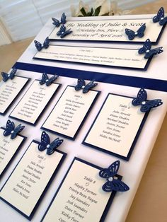 Navy Blue Butterfly Wedding Seating Plan, table number, post box , Guest book