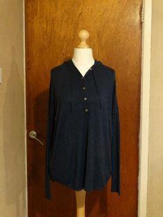 6d28f3eb483 Eileen Fischer womens viscose mix dark blue hoodie top size s/p #fashion #