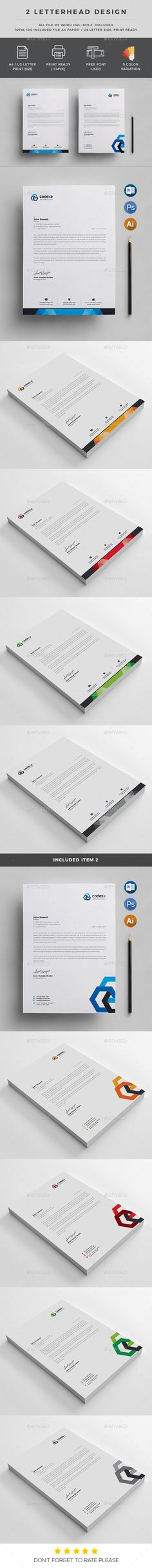 Corporate Letterhead Design Template - Stationery Print Design Templates PSD, Vector EPS, AI Illustrator. Download here: https://graphicriver.net/item/corporate-letterhead/19362613?ref=yinkira