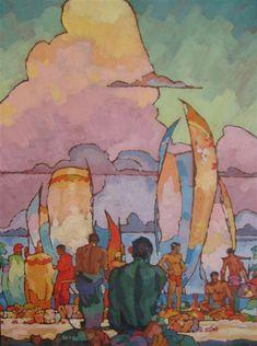 Hawaiians by Arman Manookian. Naïve Art (Primitivism). genre painting