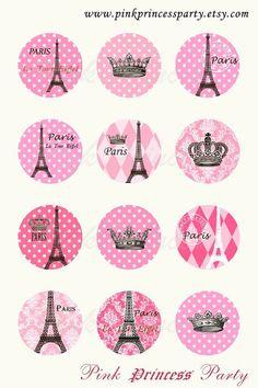 Eiffel tower Pink Paris 1 inch Circle Bottlecap image Printable download. p8502