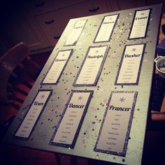 A Christmas/festive wedding table plan with the tables named after reindeer.