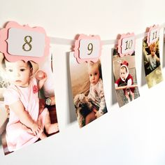 12 months photo banner. First birthday banner. Pink and gold. Gold glitter birthday. Boy and girl. -- Awesome products selected by Anna Churchill