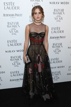 Emma Watson looked absolutely stunning in this sheer embroidered Dior gown at the Harper's Bazaar Women of the Year Awards in - Illustrious Celeb Fashion From the Year You Were Born - Photos Style Emma Watson, Emma Watson Estilo, Emma Watson Gown, Emma Watson Red Carpet, Emma Watson Outfits, Celebridades Fashion, Dior Gown, Look Star, Looks Street Style