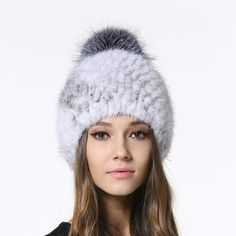 13331611b9d Mink Fur Cap With Silver Fox Fur Ball Beanie. 2017 New Womens Real Mink Fur  Caps ...