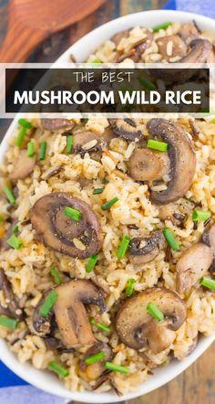 Mushroom Side Dishes, Mushroom Dish, Rice Side Dishes, Side Dishes Easy, Side Dish Recipes, Wild Rice Recipes, Healthy Recipes, Wild Rice Pilaf, Easy Rice Pilaf