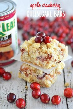 White chocolate, cream cheese, and pie filling are the perfect combination in these easy to make Apple Cranberry Cheesecake Bars. | apple cranberry recipes | homemade cheesecake bars | fall desserts | dessert recipes for fall | autumn recipes | homemade desserts || Kitchen Meets Girl