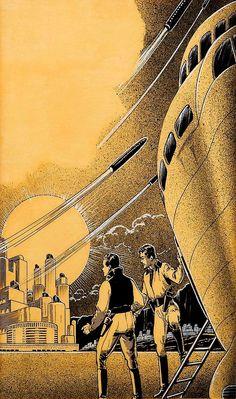 Rockets & Men, Science Fiction Pulp Interior Story Illustration // Frank R. Paul / SciFiction.com
