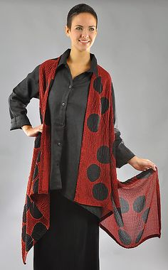 by Michael Kane: Red and Black Bubble Silk Willow Vest hand-dyed silk bubble gauze. The same lovely fabric as the Orchid blouse. The asymmetrical cut allows for versatility and fluid drape over the body. Can be flipped and worn with more fabric around neck in a shawl fashion and cropped shorter in back. Garment length in front/back is 50/30''. Ships on or before:  Fri, Mar 6, 2015, $370.