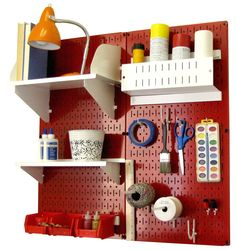 Wall Control Pegboard Hobby Craft Pegboard Organizer Storage Kit with Red Pegboard and White Accessories