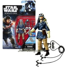Hasbro Year 2016 Star Wars Rogue One Series 4 Inch Tall Action Figure - CAPTAIN CASSIAN ANDOR (EADU) with Blaster Gun and Zip Line Pack