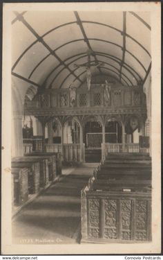 Other - Interior, Mullion Church, Cornwall, c.1920s - Hawke RP Postcard