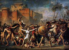 Il Neoclassicismo: Jacques-Louis David, Le Sabine interrompono il combattimento tra Romani e Sabino ( 1799), Parigi, Louvre.
