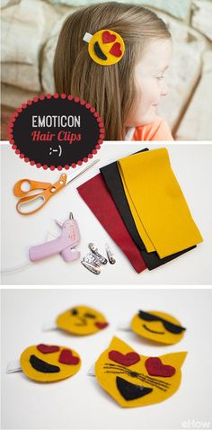 YES! How adorable are these emoticon hair clips. Little girls, teens and adults will LOVE this! Just using a little bit of felt and hot glue and you're set. Grab the how-to here: http://www.ehow.com/how_12340517_diy-emoticon-hair-clips.html?utm_source=pinterest.com&utm_medium=referral&utm_content=inline&utm_campaign=fanpage