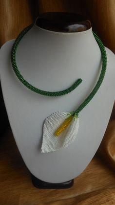Necklace calla flower jewelery Necklace by BeadedJewelryVirunia
