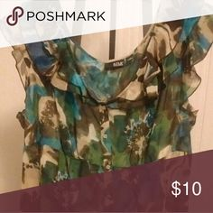 ✂Price cut✂  A.N.A Top Blue, brown, and green multi color top a.n.a Tops Blouses