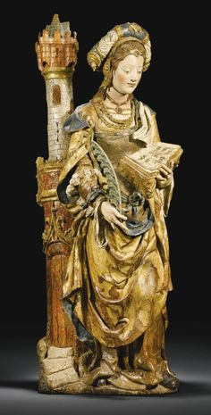 Saint Barbara - Limburg or Lower Rhine, circa 1530 Madonna, Saint Barbara, Renaissance Kunst, Wooden Statues, Medieval Art, Medieval Books, Old Master, Religious Art, Middle Ages