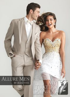 """The Tan 'Bartlett' Tuxedo by <a title=""""Allure Men by Jean Yves Tuxedos Page"""" href=""""http://www.mytuxedocatalog.com/allure-men-tuxedos/"""" target=""""_blank"""">Allure Men</a> is a powerful and popular style in this incredible line of wedding tuxedos! While wonderful for a wide variety of formal and semi-formal events, the Tan 'Bartlett' Tuxedo caters most directly to daytime garden and destination weddings. The tuxedo actually contains no satin. The lapels are self material with self trim. Other…"""