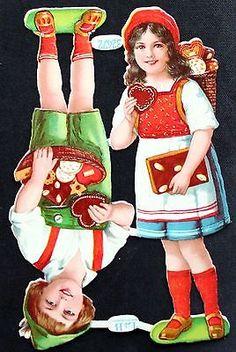 Vintage German Original Gingerbread Die Cut Scraps, Decoupage,L & B 32472 , Kids