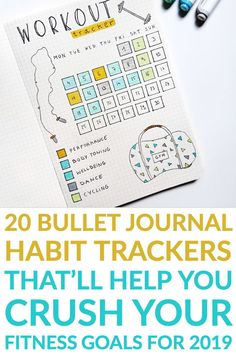Check out 20 bullet journal fitness tracker layouts to be healthier in 2019 and slay your goals #anjahome #bulletjournal #fitnesstracker #goals #2019
