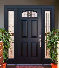 Exterior Front Doors, Front Entry, Front Porch, Black Composite Front Door, Fiberglass Entry Doors, Front Door Design, Window Styles, House Front, Windows And Doors