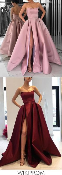 Burgundy Strapless Bodice Corset Long Sleeveless Evening Gowns With Leg Split Prom Dress WK723, This dress could be custom made, there are no extra cost to do custom size and color