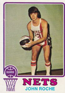 John Roche - 1972-'73 Topps #201John Michael Roche (born September 26, 1949 in New York City) is a retired American professional basketball player in both the ABA and the NBA from 1971 to 1982. Roche is one of three players in NBA history to hit 7 three-point field goals in a quarter. Roche earned a law degree from the University of Denver College of Law, while playing for the Denver Nuggets.