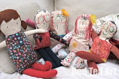 Wonderfully Arty Rag Dolls that kids can make. Here my then 3yr sold and 5yrs old at work!