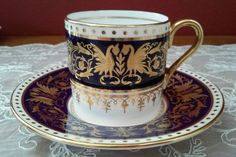 Vintage Antique Aynsley Leville Tea Cups and Saucers Set of 6 Perfect | eBay
