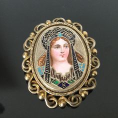 Georgian Russian Solid Silver Brooch Enamel And Painting Portrait кокошник Early 19th Century64