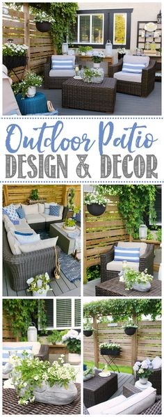Lots of beautiful outdoor patio design ideas and decor tips. Neutral colors with pops of green and blue. / #summerpatio #patiodecor #patiodesign #patiofurniture #backyardpatio Outdoor Patio Designs, Outdoor Projects, Outdoor Spaces, Outdoor Living, Outdoor Decor, Patio Ideas, Outdoor Retreat, Backyard Retreat, Backyard Patio