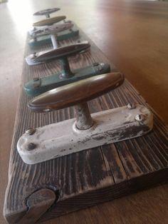 Appendiabiti in legno di larice recuperato e 5 di Engardina