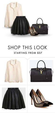 """Sem título #199"" by beatriz-6969 ❤ liked on Polyvore featuring H&M, Yves Saint Laurent, Balmain and Gianvito Rossi"