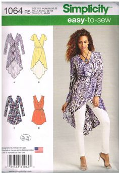 Free Shipping, Simplicity 1064, Misses' Tunics and Belt by In K  Designs, Size 14, 16, 18, 20, 22 by OhSewWorthIt on Etsy