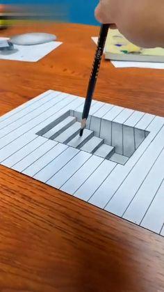 3d Art Drawing, Art Drawings For Kids, Art Drawings Sketches Simple, Pencil Art Drawings, Easy Drawings, 3d Pencil Art, Easy 3d Drawing, Realistic Drawings, Geometric Drawing