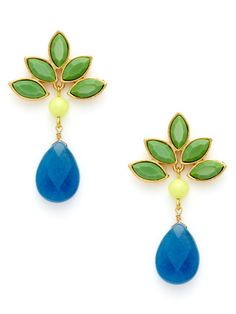 """Green, Yellow, & Blue Drop Earrings by David Aubrey - a bold 2"""" long, these post closure earrings can carry the show with no need for further bling"""