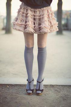 By Eleonore Bridge. Love Fashion, Autumn Fashion, Vintage Fashion, Sweet Fashion, Socks And Heels, Knee Socks, High Socks, Eleonore Bridge, Frilly Skirt
