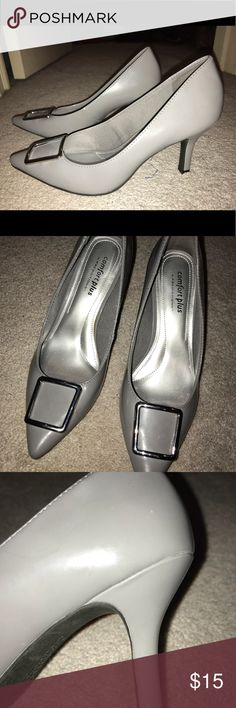 Gray heels with silver buckle detail Comfort Plus gray heels with silver buckle detail. Cute with jeans, dress pants, or a skirt. Excellent condition. Comfort Plus Shoes Heels