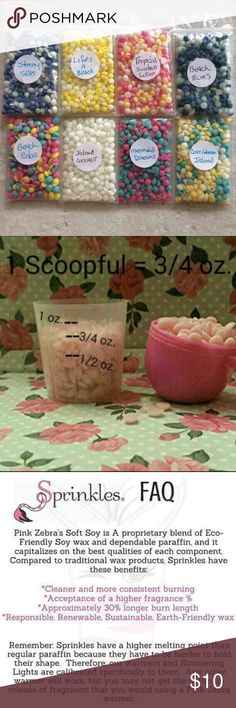 """Pink Zebra Sprinkles Sample Bundle ▪️Get (8) scents of Pink Zebra Sprinkle Wax Melts to try!   *NOTE: Each bag is 2""""x3"""" and contains (1) tablespoon size scoop (3/4 oz) of scent. See pic #2 for scoop size.     ✨ Use ONE bag in your electric wax melter to give you 30+ hours of scented goodness!  A little bit goes a long way!! Other"""