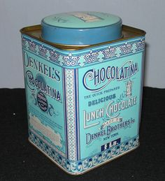 Vintage Chocolate Tin Made in England 1970s replica from DesiresInspired.