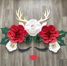 This item is unavailable - Christmas reindeer flower wall Decor , Rudolph wall decor, Christmas flower decor , red nosed p - Paper Flower Decor, Paper Flower Backdrop, Flower Wall Decor, Flower Decorations, Christmas Decorations, Christmas Flowers, Christmas Paper, Christmas Booth, Diy And Crafts