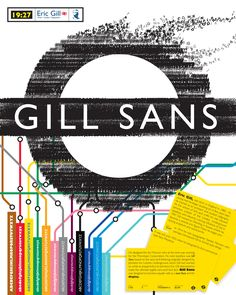 Gill Sans Underground poster, Arthur Eric Rowton Gill (Eric Gill) was an English sculptor, typeface designer, stonecutter and printmaker, who was associated with the Arts and Crafts movement.