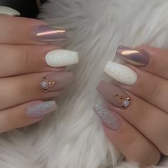 the most wonderful and convenient coffin nail designs 2019 – page 51 - acrylic nails Cute Acrylic Nails, Cute Nails, Pretty Nails, Hair And Nails, My Nails, Simple Wedding Nails, Holographic Nails, Nagel Gel, Perfect Nails